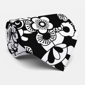 Black and White Pop Art Flowers Tie
