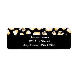 Black and White Popcorn Pattern Personalized Return Address Label