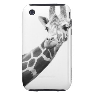 Black and white portrait of a giraffe iPhone 3 tough cover