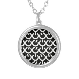 Black and White Power Symbol Pattern Silver Plated Necklace