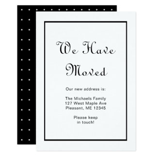 Black and White Pretty Dots Change of Address Card