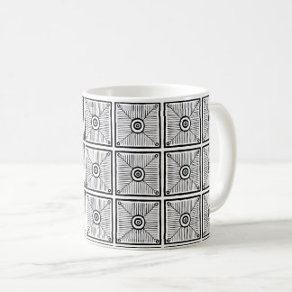 Black and White Primitive Mexican Pattern Coffee Mug