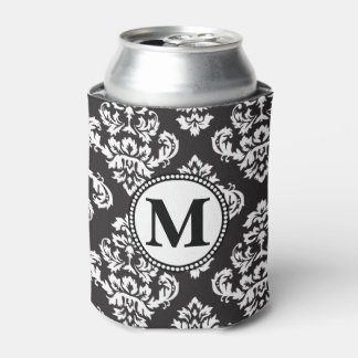 Black and White Print Pattern Monogram Can Cooler