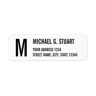 Black and White Professional Monogram Bold Text Return Address Label