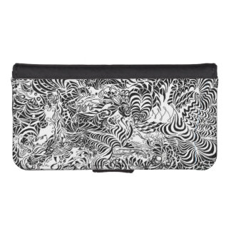 Black and White Psychedelia iPhone SE/5/5s Wallet Case