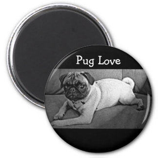Black and White Pug 6 Cm Round Magnet