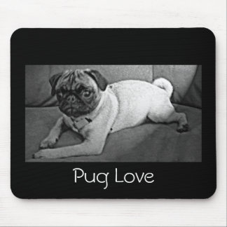 Black and White Pug Mouse Pad