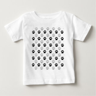 Black and white puppy paw prints baby T-Shirt