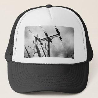 Black and white pylon trucker hat