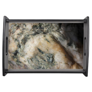 Black and White Quartz Mineral Texture Serving Tray