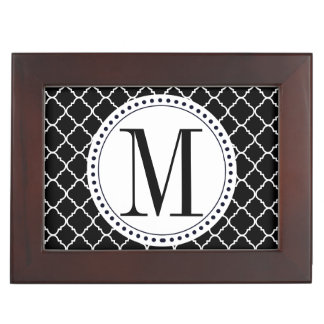 Black and White Quatrefoil Memory Boxes