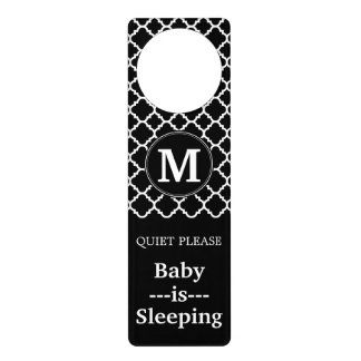 Black and White Quatrefoil Pattern Custom Monogram Door Hanger