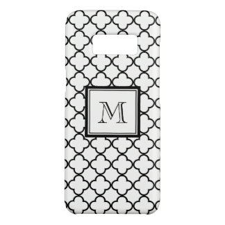 Black and White Quatrefoil, Your Monogram Case-Mate Samsung Galaxy S8 Case