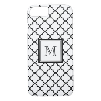 Black and White Quatrefoil, Your Monogram iPhone 8/7 Case