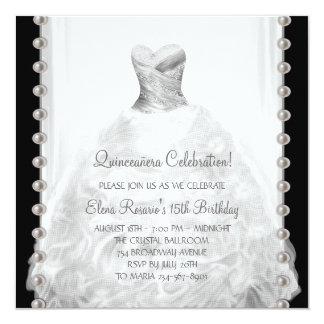 """Black and White Quinceanera Invitations 5.25"""" Square Invitation Card"""