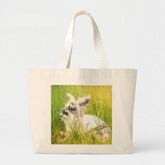 Black and white rabbit large tote bag
