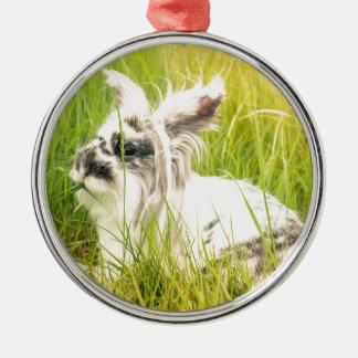 Black and white rabbit metal ornament