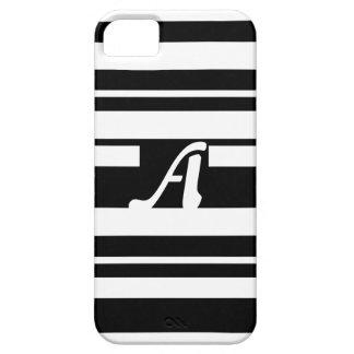 Black and White Random Stripes Monogram iPhone 5 Cases