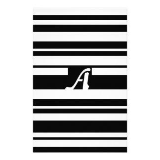 Black and White Random Stripes Monogram Stationery Design