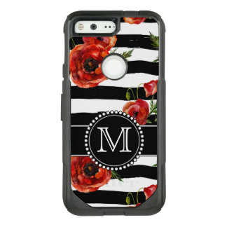 Black and White, Red Poppies, Floral, Monogrammed OtterBox Commuter Google Pixel Case