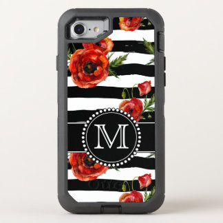 Black and White, Red Poppies, Floral, Monogrammed OtterBox Defender iPhone 8/7 Case