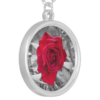 Black and White Red Rose Silver Plated Necklace