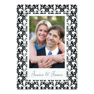 Black and White Renaissance Wedding Photo Template Card