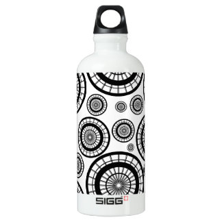 Black and White Repeating Wheel Pattern SIGG Traveller 0.6L Water Bottle
