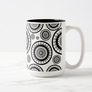 Black and White Repeating Wheel Pattern Two-Tone Coffee Mug