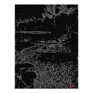 black and white resting place drawing photo print