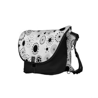 Black and White Retro Circles Commuter Bag