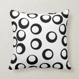 Black and White Retro Circles Pattern. Cushion