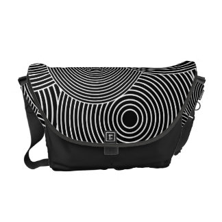 Black and White Retro Circles Pattern Commuter Bags