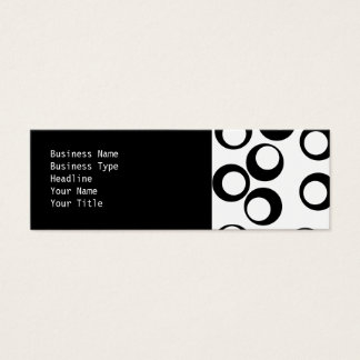 Black and White Retro Circles Pattern. Mini Business Card