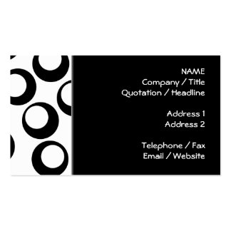 Black and White Retro Circles Pattern. Pack Of Standard Business Cards