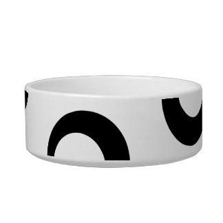 Black and White Retro Circles Pattern. Pet Water Bowl