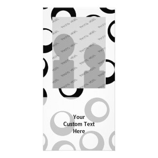 Black and White Retro Circles Pattern. Photo Cards