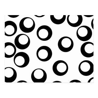Black and White Retro Circles Pattern. Postcard