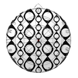 Black and White Retro Circles, Rings Dart Board