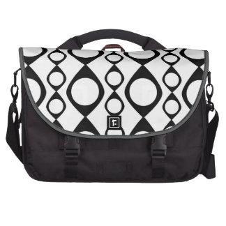 Black and White Retro Circles, Rings Laptop Messenger Bag