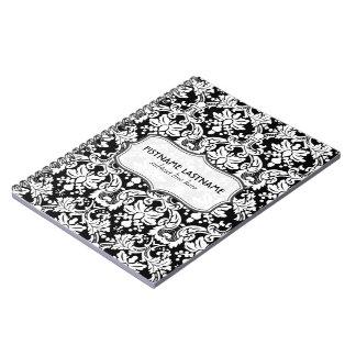 Black And White Retro Floral Damasks Pattern Spiral Notebook
