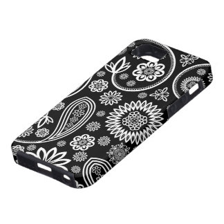 Black And White Retro Flowers And Circles Pattern iPhone 5 Case