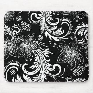Black And White Retro Flowers & Swirls Design Mouse Pad