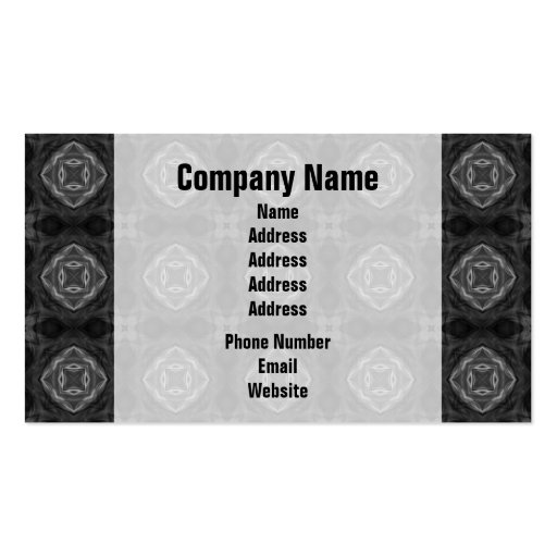 Black and White Retro Fractal Pattern Business Card Template