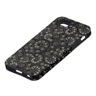 Black And White Retro Swirls And Circles Pattern Tough iPhone 5 Case