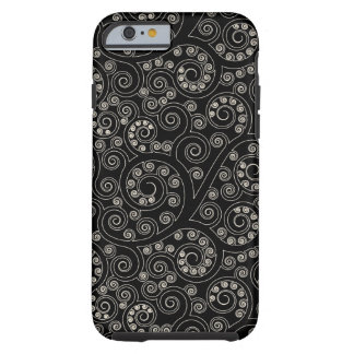 Black And White Retro Swirls And Circles Pattern Tough iPhone 6 Case