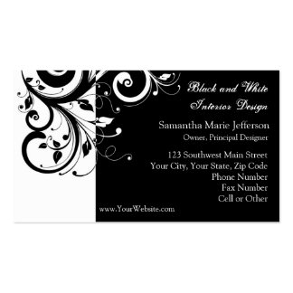 Black and White Reverse Swirl Business Cards