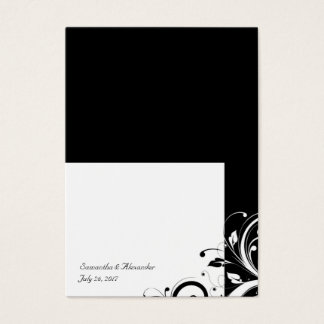 Black and White Reverse Swirl Place-Cards, Written Business Card