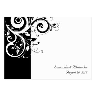 Black and White Reverse Swirl PlaceCards, Written Pack Of Chubby Business Cards