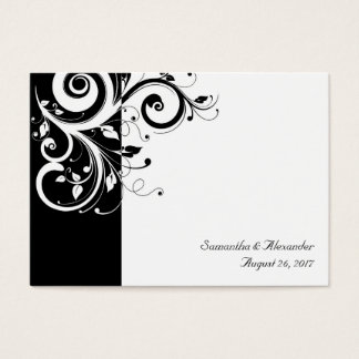 Black and White Reverse Swirl PlaceCards, Written Business Card